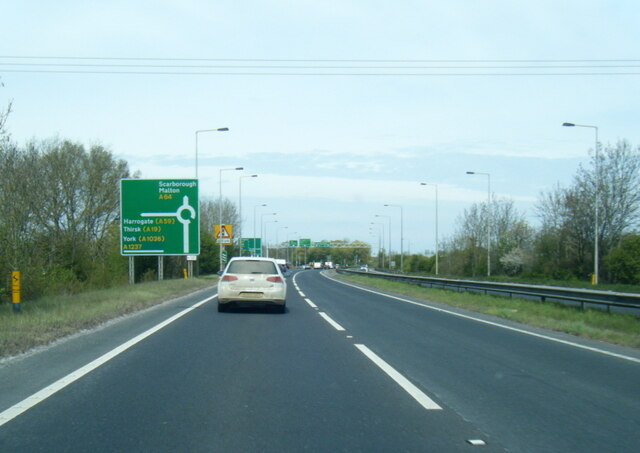 A64 nears A1237 roundabout