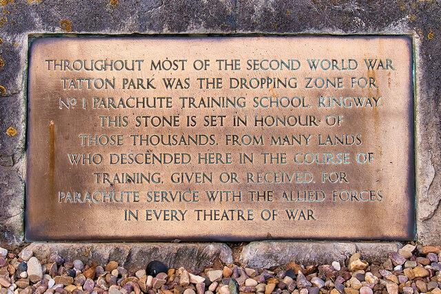 Plaque on Airborne Forces Memorial at Tatton Park