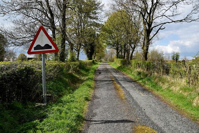Bumpy road sign along Deroar Road