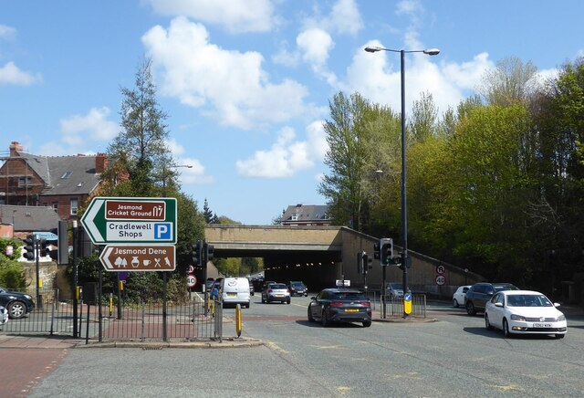 The A1058 enters underpass