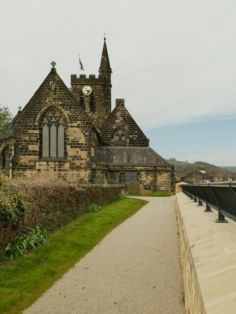 St Michael's church, Mytholmroyd - east end, with new river wall