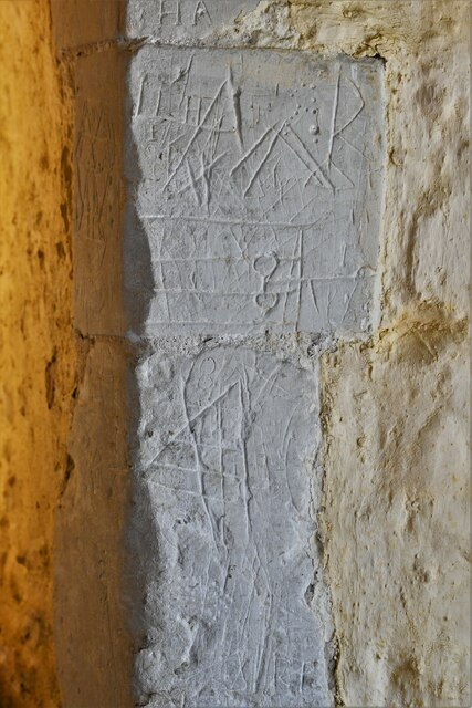 Mickfield, St. Andrew's Church: Medieval graffiti 1