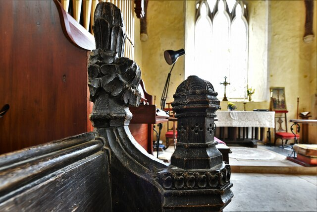 Mickfield, St. Andrew's Church: Medieval bench end