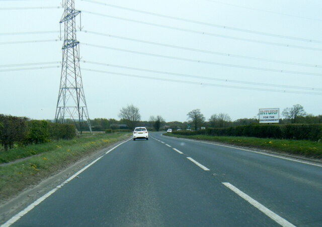 A1079 at power lines east of Wilberfoss