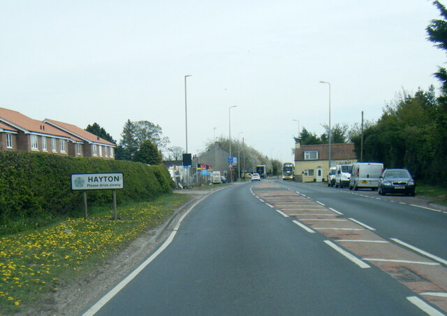 A1079 at Hayton village boundary