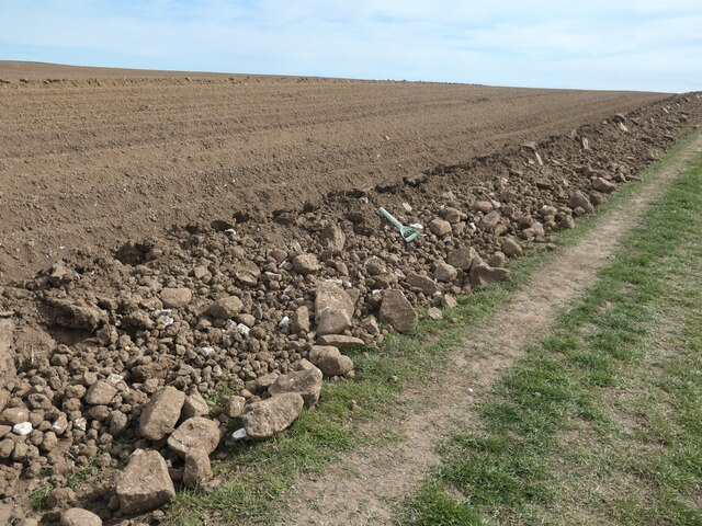 Big lumps of chalk at the edge of a ploughed field