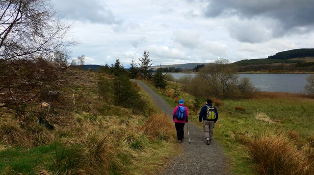 The shore path at the Carron Valley Reservoir