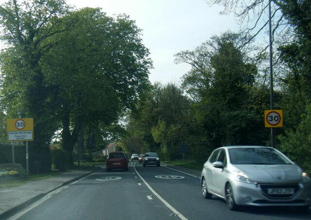 A63 at Monk Fryston village boundary