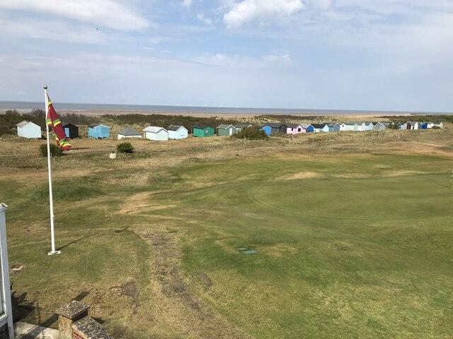 Beach huts next to Hunstanton golf course