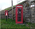 NY7606 : Elizabeth II postbox and telephone box on the A685, Kirkby Stephen Station by JThomas