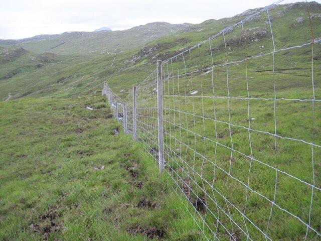 Deer fence on hillside above Allt nan Carnan