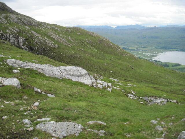 Hillside of Glas Bheinn towards head of Loch Carron
