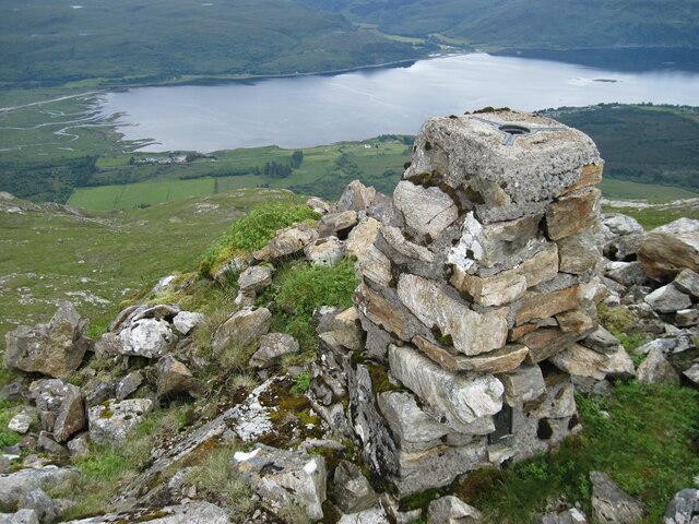 Hillside at Glas Bheinn trig point towards head of Loch Carron
