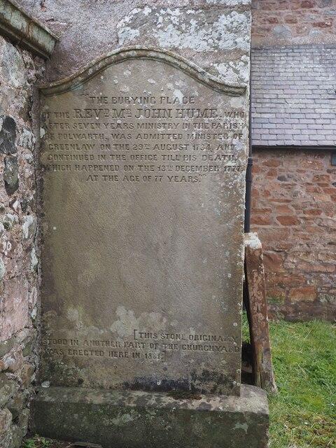 Memorial to Rev John Hume minister in Greenlaw 1734-1777
