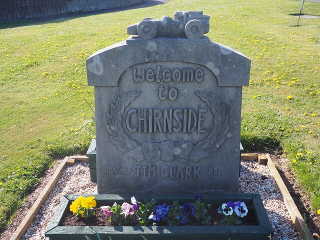 Chirnside sign with Racing Car acknowledging Jim Clark OBE