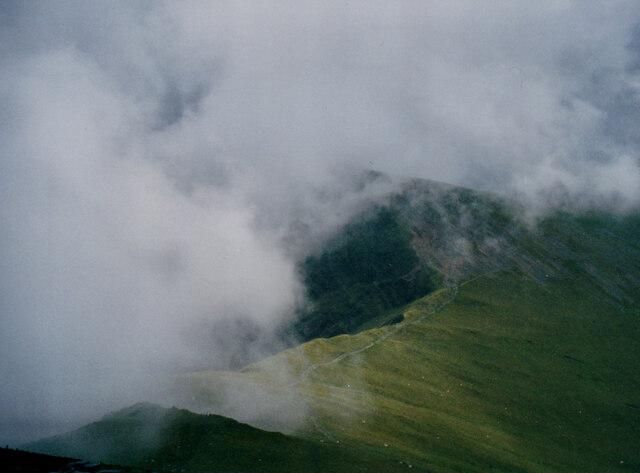 Low cloud over Bwlch y Brecan