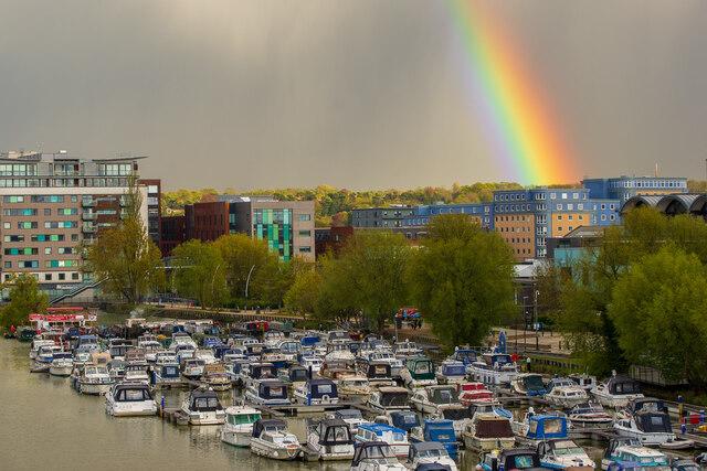 A rainbow over the Brayford Pool, Lincoln