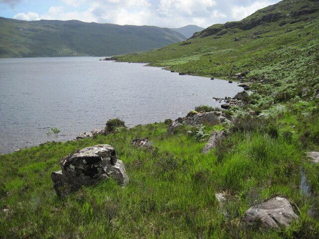 Western shoreline of Loch Damh near Creag Dhubh Phollaster