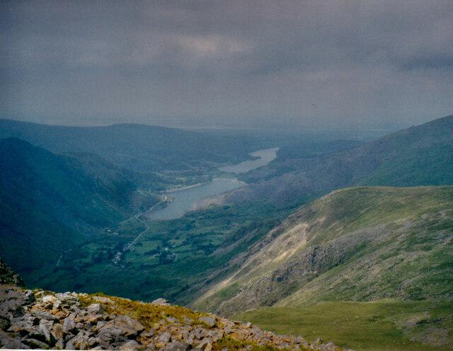 Llynnau Padarn and Peris from the slopes of Y Garn
