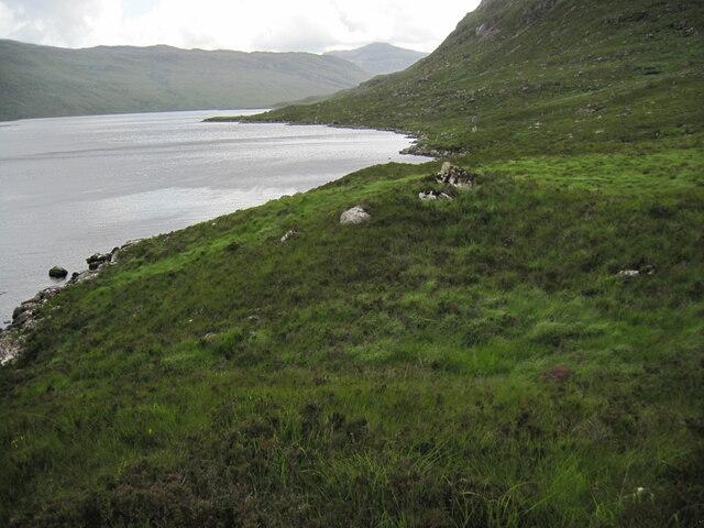 Western shoreline of Loch Damh towards Creag Dhubh Phollaster