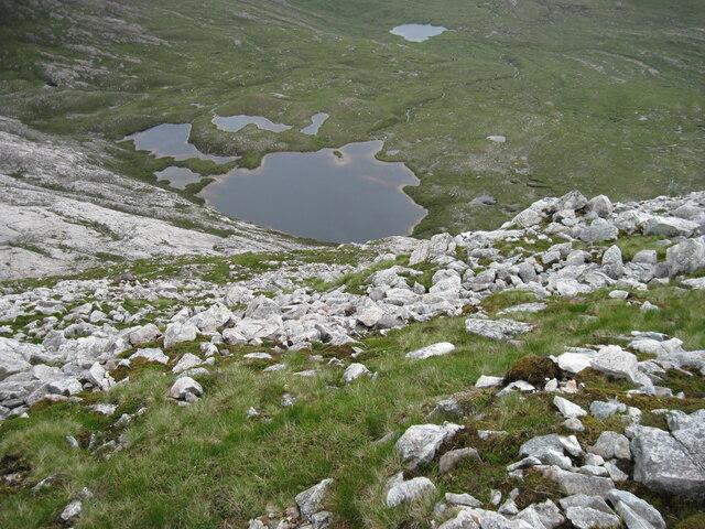 Hillside  of An Ruadh-Stac towards Loch a' Bealach Ruadh Stac