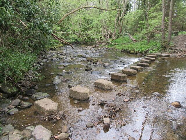 Stepping stones across Little Beck
