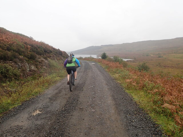 Mountain cyclist heading for a circuit of Loch Frisa