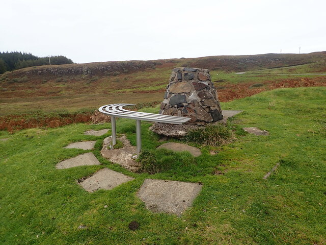 Cairn and seat overlooking Dervaig