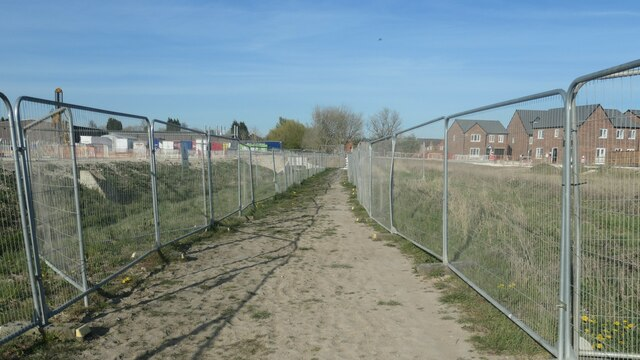 The public footpath is safely fenced off