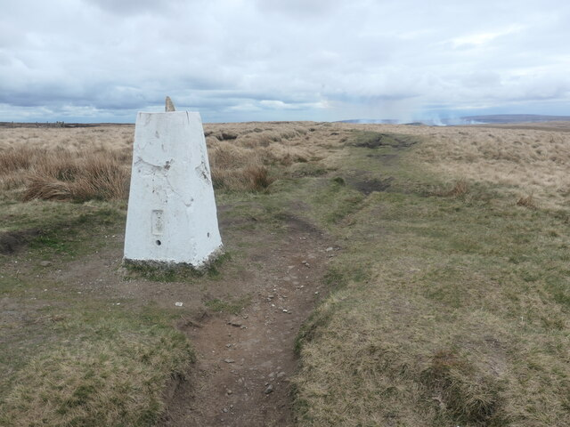 White trig point, on the county boundary at White Hill