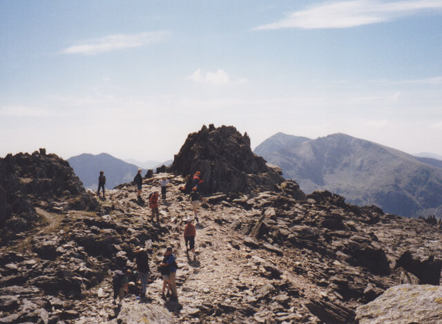 The summit of Glyder Fawr with the Snowdon Horseshoe in the background