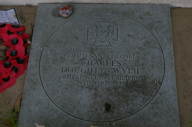 Plaque in memory of Lieutenant-Colonel Charles Doughty-Wylie VC, Theberton war memorial