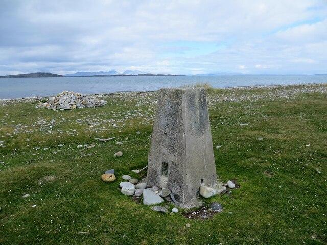 Trig pillar at Rhunahaorine Point, Kintyre