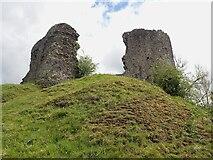 SN7634 : Llandovery Castle (Castell Llanymddyfri) - ruins upon its motte by Rob Farrow