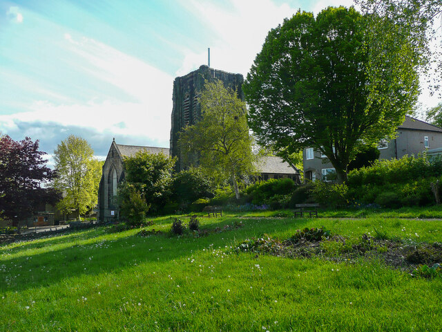 A little park, and St Matthew's Church, Northowram