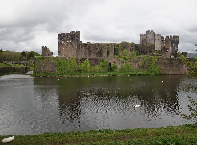 Caerphilly Castle - southern façade from Tafarn y Cwrt