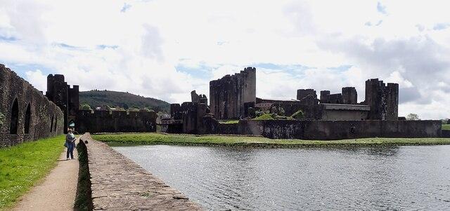 Caerphilly Castle - from North Dam Platform (northern end)