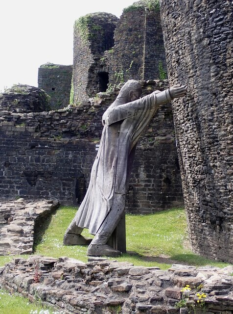 Caerphilly Castle - Statue with a mission