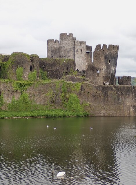 Caerphilly Castle - Southeastern corner across South Lake