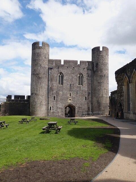 Caerphilly Castle - Inner East Gatehouse from inside the castle