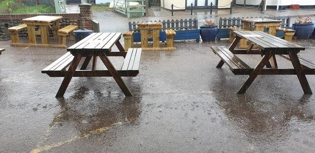 Heavy Rain in Mundesley Village, Norfolk