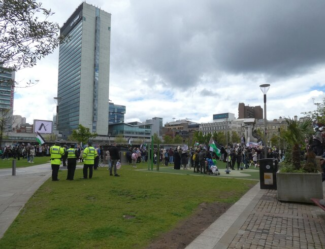A demo at Piccadilly Gardens