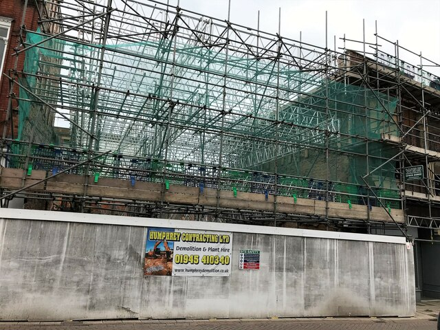 A complex scaffolding structure on Wisbech High Street