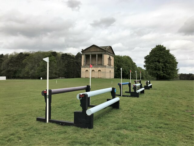 Equestrian cross country fences near the water tower at Houghton Hall