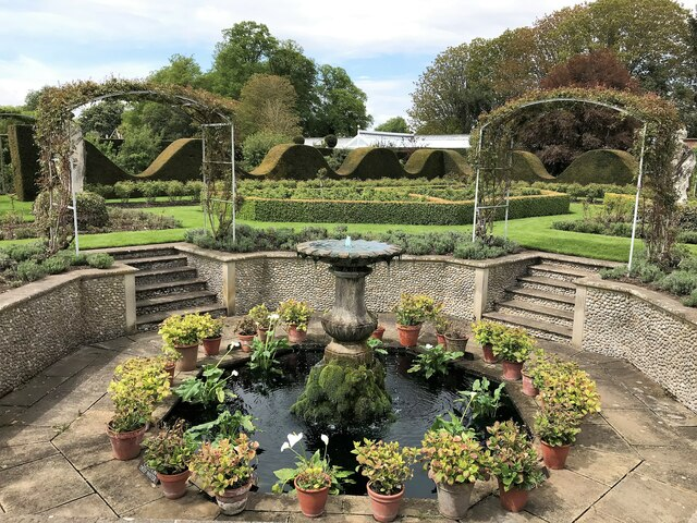 A circle of pots in the walled garden at Houghton Hall