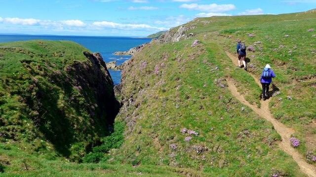 On the coastal path to St Ninian's Cave