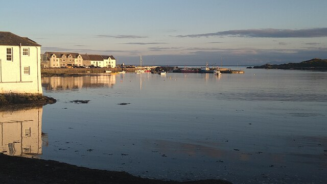 Isle of Whithorn harbour at dusk