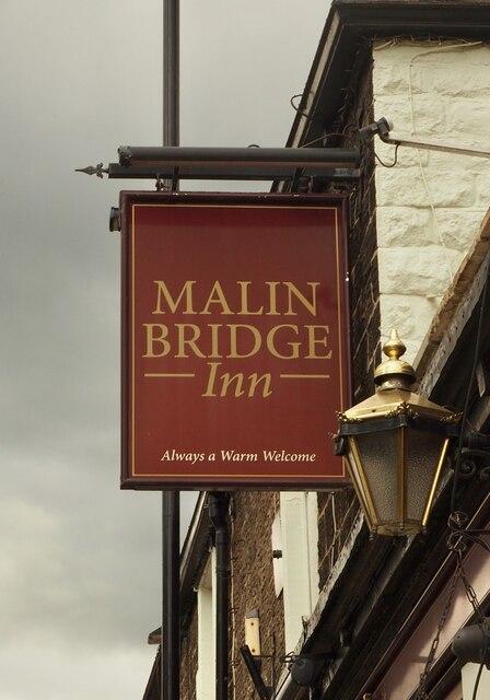 The sign of the Malin Bridge Inn