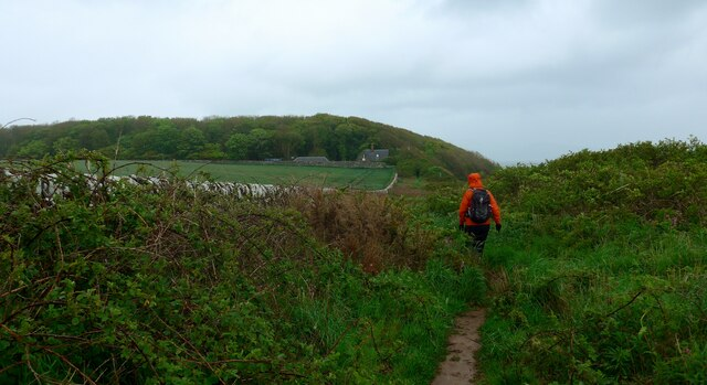 Approaching Cruggleton Lodge on the cliff-top path