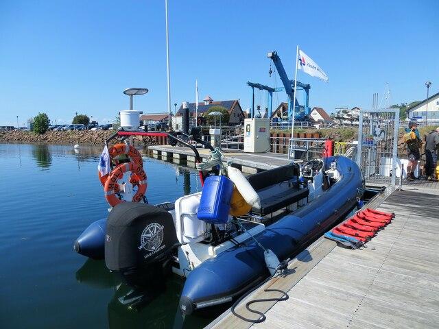 Rib berthed at Largs Marina